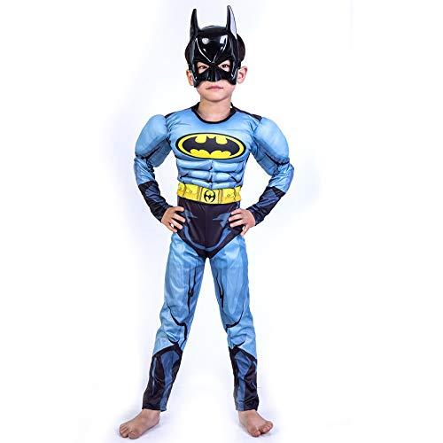 ASJUNQ Cosplay Kostüm Batman Muskel Kleidung 3D Digitaldruck Kind Halloween Party Requisiten Onesies,Child-95-110 (Kostüm-kind Batman Muskel)