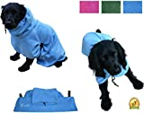 Medium Microfibre Dog Robe by Arcadian in Blue and Pink. These Luxurious Robes make the Perfect Gift for your Beloved Pet. Made of Premium Quality Microfiber, These Robes are Lightweight, Quick Drying and Super Absorbent. Arcadian Robes are Easy to Use, Comfortable and come with Adjustable Straps. Fantastic When Used with an Arcadian Microfibre Dog Towel. 100% Satisfaction Guarantee! (Medium, Blue)