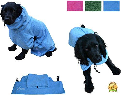 Mikrofaser Hunde Bademantel von Premium Qualität von Arcadian. Diese luxuriösen Bademäntel sind leicht, schnell trocknend und super saugfähig. Einfach zu verwenden, komfortabel und mit verstellbaren Trägern. Fantastisch, wenn zusammen mit einem Mikrofaser Hundehandtuch von Arcadian verwendet. 100% Zufriedenheitsgarantie! - 5