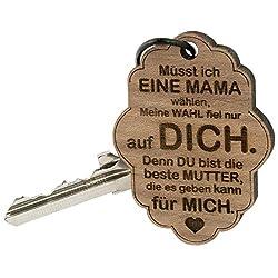 Schlüsselanhänger Wolke Mama mit Gravur - Holz Anhänger graviert mit Spruch für Mütter - originelles Muttertagsgeschenk