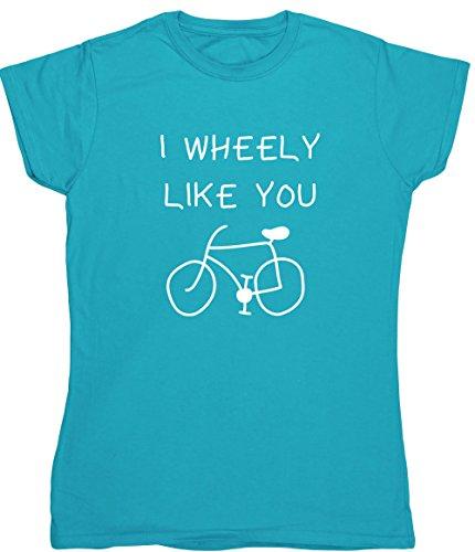 Radfahren Fitted T-shirt (Hippowarehouse Wheely Like You Damen Fitted Short Sleeve T-Shirt (bestimmte Größenangaben in der Beschreibung) Gr. XX-Large, Saphirblau)