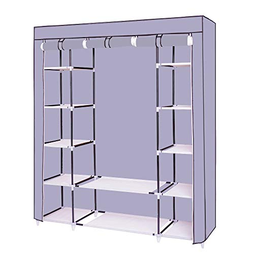 Dainty Kleiderschrank Stoffschrank Grau mit Kleiderstange Hängender 150 x 175 x 45 cm Groß Faltschrank Stabilmit Reißverschluß