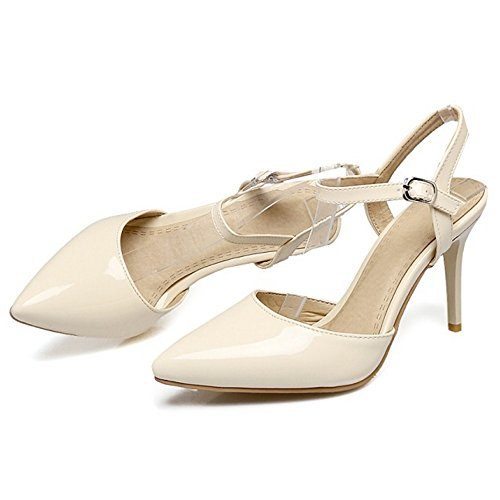 COOLCEPT Damen Mode Knochelriemchen Sandalen Stiletto Geschlossene Slingback Schuhe Gr Beige