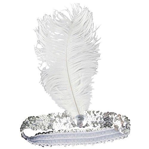 Sanwood Pailletten-Tänzerin Party Flapper Stirnband Kopfschmuck mit Feder plume Gr. Einheitsgröße, silber