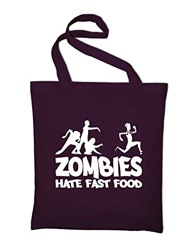 Zombies Hate Fast Food Fun Jutebeutel, Beutel, Stoffbeutel, Baumwolltasche, gelb Bordeaux