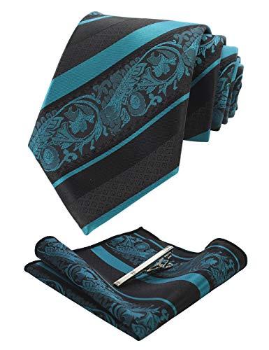 JEMYGINS Türkis Krawatte Blumen Seidenkrawatten und Einstecktuch mit krawattenklammer Sets für Herren Seide Schlip (2)