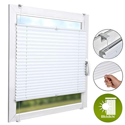 emmfix SolDecor P26 60x100 cm - Plisseerollo Ohne Bohren inkl. 2 Griffe - Rollo Fenster & Türen - Weiß & div Farben + Größen ()