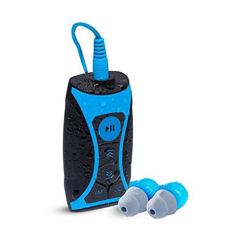 Waterfi 8GB Wasserdichtes MP3 PLAYER & FM RADIO Schwimm-Set mit wasserdichten kurzen Kabel-Kopfhörern und 360 ° drehbarem Clip