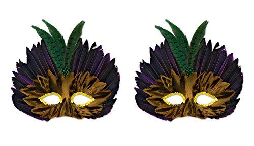 Beistle 599122piece Mardi Gras gefiederten Masken,, farbenreiche (Mardi Gras Masken Feather)