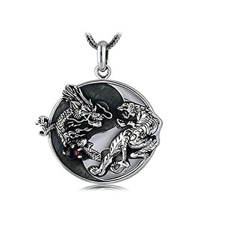 XYLUCKY Collier médaillon 925 bijoux en argent rétro Thai Silver Dragon White Tiger Tai Chi Bagua pendentif argent 3.2 * 32cm pour hommes