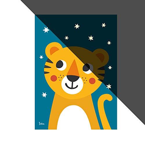 JulicaDesign Nachtleuchtende Bilder fürs Kinderzimmer   Poster   Wand-Bild für Baby-Zimmer   Motiv: Tiger   50 x 70 cm