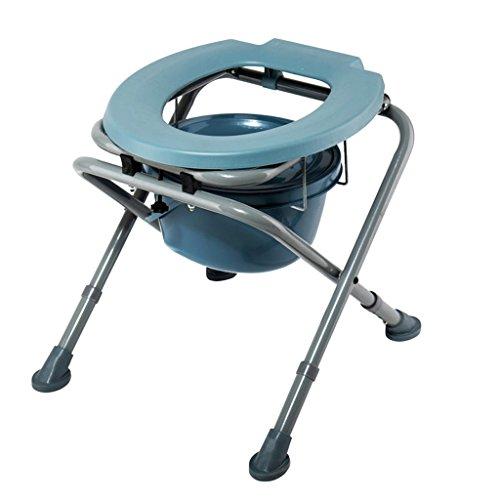 PIGE Silla de inodoro de acero al carbono plegable de altura ajustable taburete de inodoro agazapado embarazada 44 * 48 * (44-48) cm
