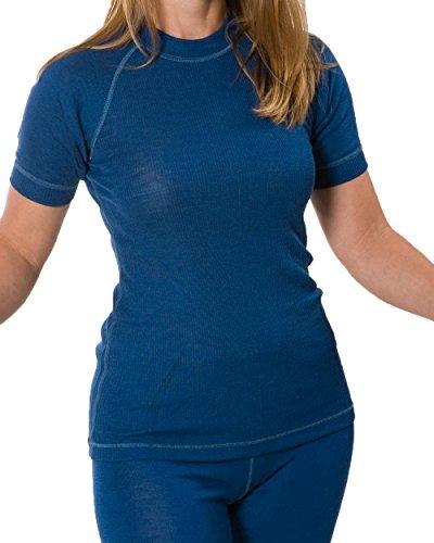 Damen Shirt kurzarm, Wolle Seide, Engel Natur, Gr. 34/36 - 46/48 Blau
