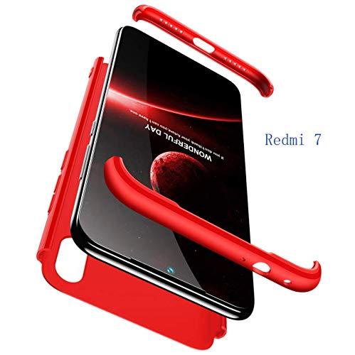 hyujia Compatible Xiaomi Redmi 7 Funda(2018) Carcasa 360° Ultra Fina Protectora cojín+Vidrio Templado Pantalla Protector,3 in 1 PC Hard Caja Caso Skin Case Cover Carcasa para Xiaomi Redmi 7 Rojo