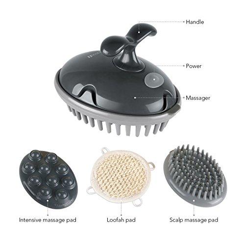 Shampoo Kopfhaut-massage Brush (MARNUR Kopfhaut Massage Kopfmassage Handmassage Vibration Elektrische Massage Bürste Batterie Massage Für Kopf Haar Schulter Fuß Zurück Mit 3 Austauschbaren Anhängen)