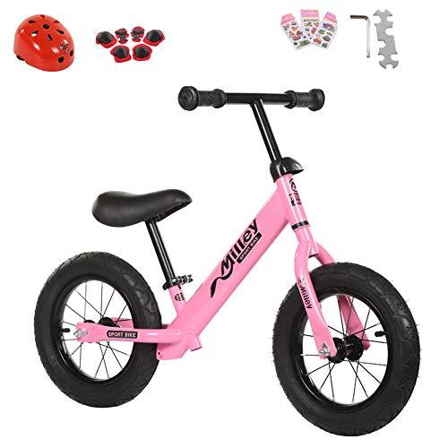 4 Pneumatische Räder (shuhong Kinder Laufrad Lernlaufrad Balance Bike Leichtgewicht   Kohlenstoffstahlrahmen   Pneumatische Rad   2-6 Jahre / 80-120 cm - 12 Zoll,Pink)
