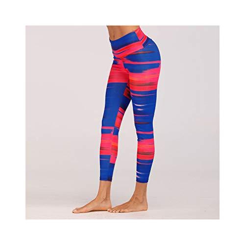 aoliaoyudonggha Women High Waist Stripe Femme Fashion Simulation Digital Printing Wrinkle Leggings -
