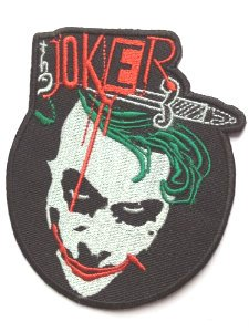 Der Joker Patch Aufnäher Aufbügler 10 cm Batman Kostüm Aufnäher Motiv Badge Kostüm Aufnäher Collectible Souvenir Cosplay (Dark Knight Joker Kostüm Cosplay)