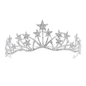 Sothat Barock Silber Kristall Stern Perlen Braut Diademe Krone Strass Diadem Pageant Kronen Stirnband Hochzeit Haar schmuck