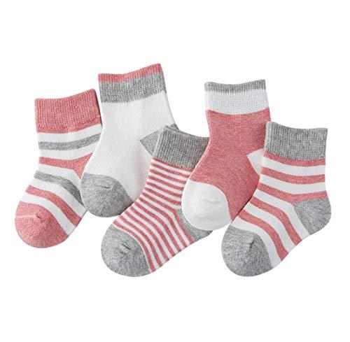 DEBAIJIA Niños Niñas Calcetines de Algodón Cómodo Deportivo Jogging Suave Elasticity Absorber el Sudor primavera verano otoño Color Rosa 0-1 año (Pack de 5 Pares)