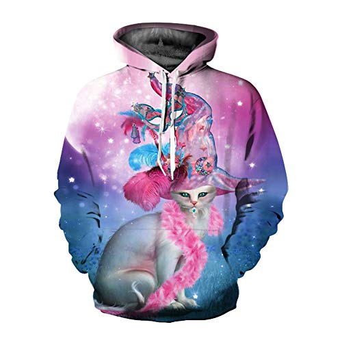 Unisex Winter 3D-Mode-Persönlichkeit Pullover Hoodie, lässiges leichtes Sweatshirt und Tasche S-XXL,122,L