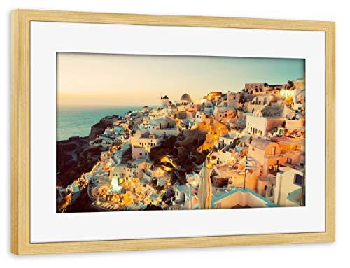 Sunset Dome (artboxONE Poster mit Rahmen Kiefer 30x20 cm Oia Town on Santorini Island, Greece at Sunset von Michal Bednarek)