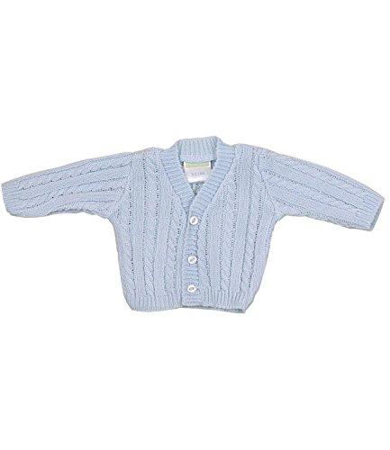 BabyPrem Frühchen Babykleidung StrickJäckchen Pullover mit Zopfmuster 44-50cm BLAU P3