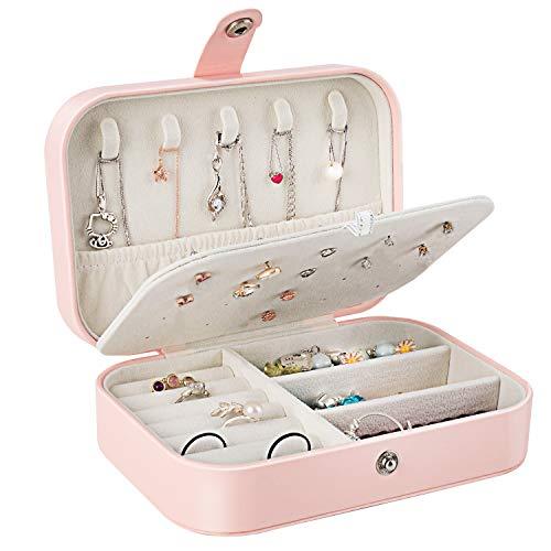 Schmuckkästen, Gifort Faux Leather Jewellery Case Schmuck Aufbewahrungsbox Schmuckkoffer Klein für Ringe Ohrringe Halskette Uhren - Rosa
