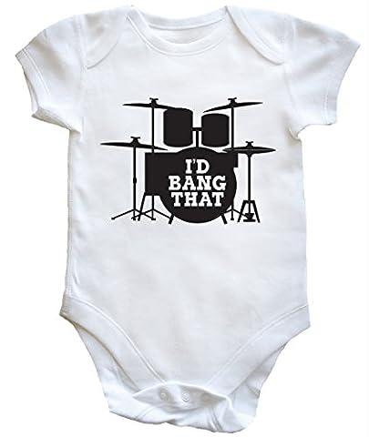 hippowarehouse I'd Bang qui (Kit tambour) Gilet bébé garçons filles - blanc - 2 mois