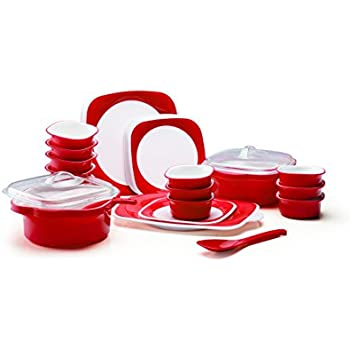 Joy Home Microwave Safe Dinner Set 32 Pcs (Twin Color   Cherry Red)