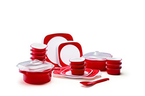 Joy Home Microwave Safe Dinner Set-32 Pcs (Twin Color - Cherry Red)