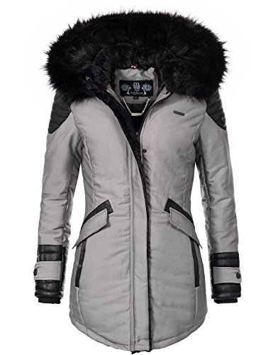 Marikoo Damen Winter Jacke Kurzmantel Zauberfee (vegan hergestellt) Grau Gr. XS (Mantel Kapuzen Down-winter Jacke)
