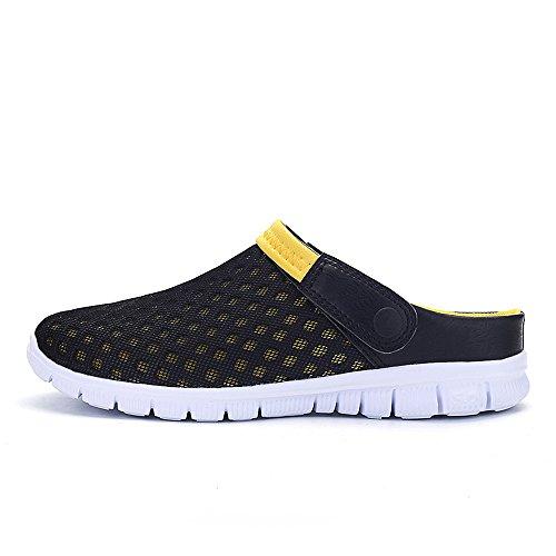 Bwiv pantofole da spiaggia unisex sandali traspiranti zoccoli estivi leggeri delle taglie 37-43 Nero con cinturino giallo