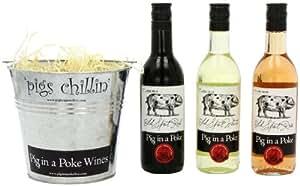 Pig in a Poke Mini Wine Gift Bucket (Case of 3 x 187ml)