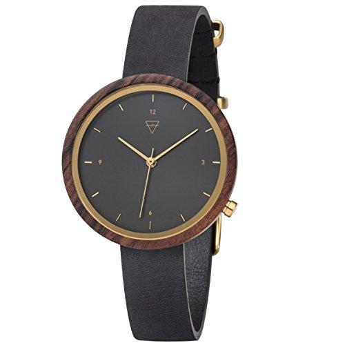 Kerbholz Damen Analog Quarz Uhr mit Leder Armband 4251240402475