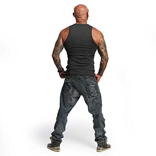 Yakuza Original Herren Destroy Tank Top T-Shirt Dunkelgrau Meliert