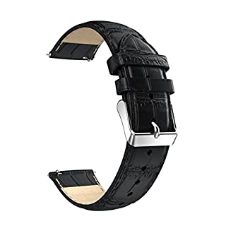 AmazingDays Replacement Leather Watch Bracelet Strap Band For Huawei Watch 2 (Black)