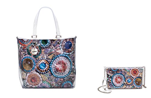 "BI-BAG borsa donna modello EASY ""SUMMER COLLECTION"" + pochette Multicolore Con Perline"