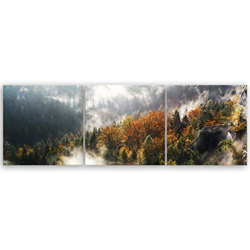 ge Bildet® hochwertiges Panorama Leinwandbild XXL - Sächsische Schweiz - Deutschland - 150 x 50 cm mehrteilig (3 teilig) 3141 I