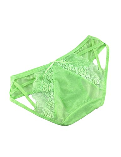 Legou Damen Thongs Spitze Slips Lace Rosen Thongs Transparente Tanga G-Strings Hellgrün