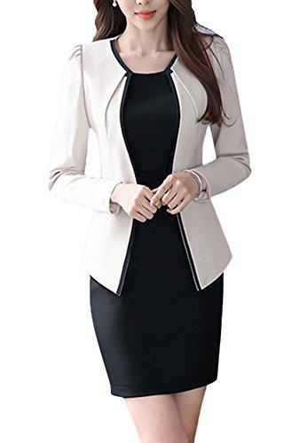 SK Studio Femmes Vestes De Tailleur Robe De Bureau Longues Manches Costume Manteau Ensemble Blazer Beige Blazer + Robe