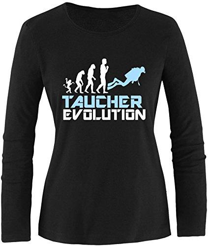 EZYshirt® Taucher Evolution Damen Longsleeve Schwarz/Weiss/Hellbl
