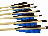 Arrowforge - 12 Stück Holzpfeile Pfeile für Bogen 4' Shield Barred Leitfeder / Bogensport / Bogenschießen