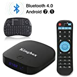 Kingbox - [2018 Dernière Version] K1 Plus Android 7.1 TV Box 2 GB RAM / 8 GB ROM Supporte Bluetooth 4.0 / H.265 / Penta-Core / 3D avec Mini Clavier sans Fil
