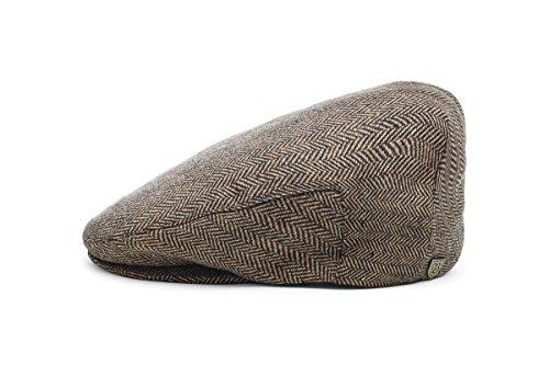 Brixton Herren Schiebermütze Hooligan brown/khaki herringbone, S 112-00005