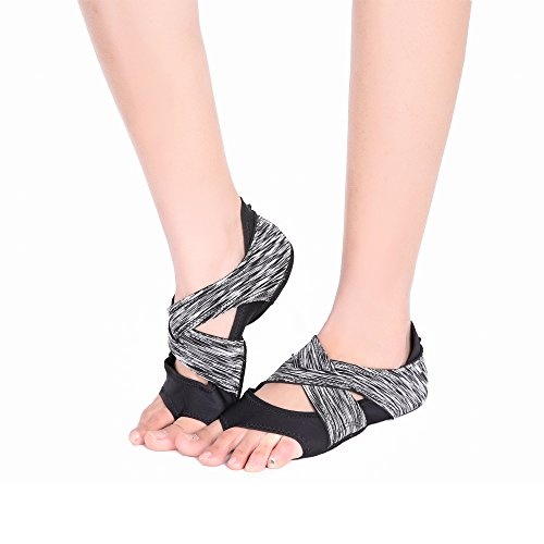 AiYoYo Anti-Rutsch Yoga Socken Yoga Schuhe 2 in 1 aus Biologischer Baumwolle mit Offenen Zehen für Ballet,Yoga,Pilates,Tanz Sport (Zehen Socken Mit Running)