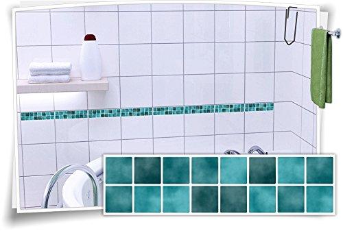Fliesenaufkleber Fliesenbordüre Bordüre Mosaik Türkis Kachel Aufkleber FB1, 20 Stück, 25x6,5cm (BxH)