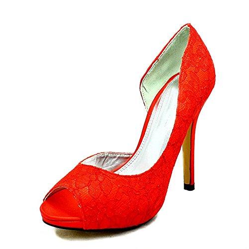 Onorevoli glitter Tacco rivestito di uno scarpe lati da sposa pizzo rosso