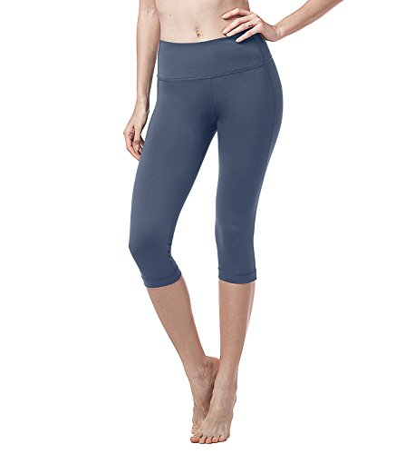 Lapasa Damen 3/4 Sport Leggings – blickdicht, dehnbar und luftig, 3/4 Yoga Sporthose, Damen kurz Training Tights, L002 (Eisen Blau (Super Opak), L/Large (Taille 77 – 81 cm))