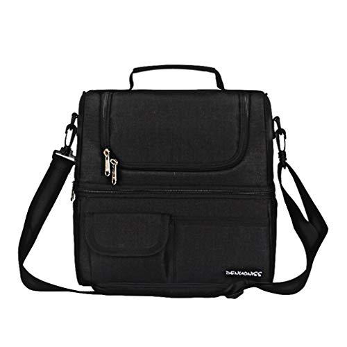 koperras Double Lunch Box Tasche Wasserdicht Eva Lunch Bag Isolation Tasche Lunch Bag ReißVerschluss Klett Einfarbig Hohe QualitäT (Schultergurt Jungen-mittagessen-tasche)